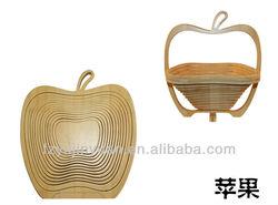 Natural bamboo fruit basket in apple shape