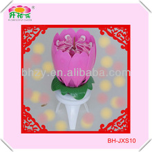 Fancy blooming chrysanthemum birthday cake candle with music and fireworks
