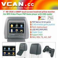 "MP-715H 7"" car headrest pillow monitor FM/IR Game USB 7 inch Car Digital headrest"