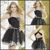 M127 Black Tulle Embroidery One Shoulder Sweetheart Mini Cocktail Dress 2013