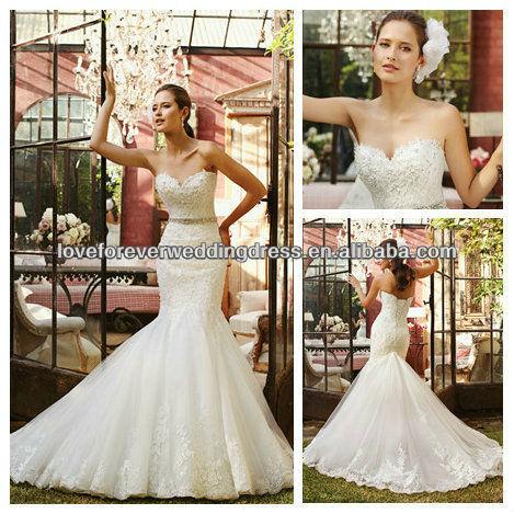 Stunning Sweetheart Lace Appliqued Romantic Latest Suzhou Wedding Dress