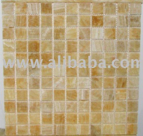 piastrelle cucina mosaico : 1x1 miele onice mosaico lucido 4 piastrelle backsplash cucina parete ...