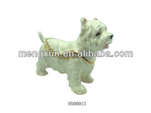 2013 fashion metal alloy pewter Swaroski rhinstone crystal white cute dog trinket Jewelry Box