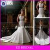 Trumpet Sweetheart Lace Appliqued Sash Elegant Satin Chapel Train Mermaid Wedding Dress