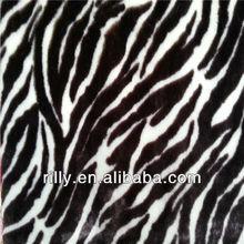 100% polyester zebra printed PV plush fabric