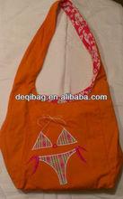 Orange and hot pink white flowers reversible bikini handbag beach travel bag tote satchel
