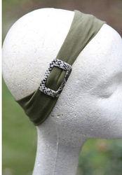 Godbead Headband hair band head wrap soft stretch olive snake side buckle comfort fit
