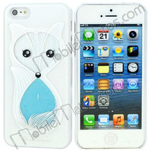 Sandglass Design Fox Change to Girl Pattern 3D Hard Case Cover for iPhone5 (White+Light Blue)