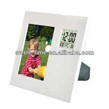 Home decoration LCD alarm clock with photo frame meet CE and Rohs best for gift