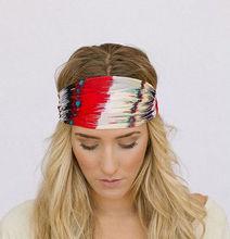 Godbead Feather Headband Chiffon Wide Hair Band Accessory Red, yellow, & black feather chiffon headband Stretchy Head Wrap Fit (
