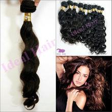 Top grade real natural raw virgin loose wavy strand hair beauty