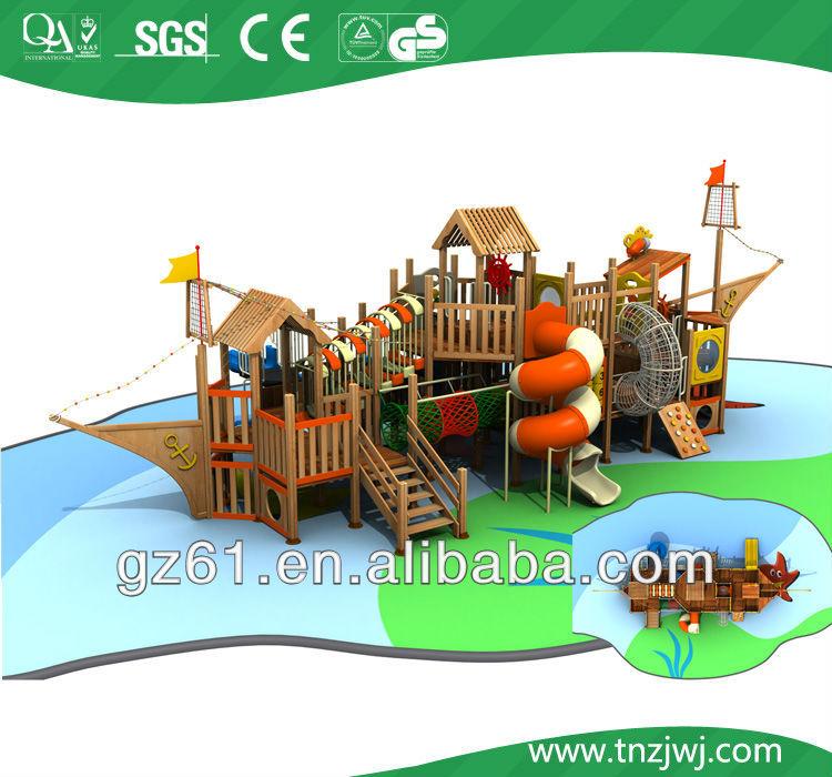 Wooden kids play pirate ship playground outdoor for sale - Pirate ship wooden playground ...