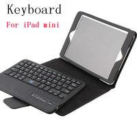 hot sale PU leather wireless bluetooth keyboard case for ipad mini
