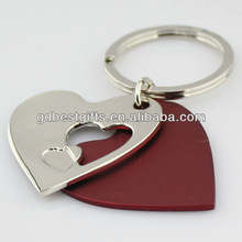 custom metal heart shape keyring with enamel