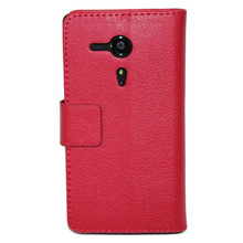 lychee leather wallet case for sony Xperia SP M35h