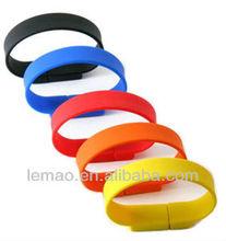 full capacity Promotion customized logo usb silicone bangle