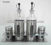 tp12060 stainless steel casing glass bottle for oil and vinegar