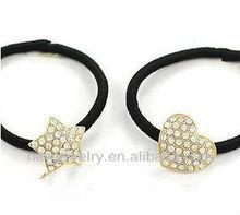 B045 Exquisite rhinestone heart star hair rubber band