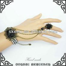 gothic vintage DIY black rose weave charm bracelet ring setting fashion bride wristlet bangle handchain GS018