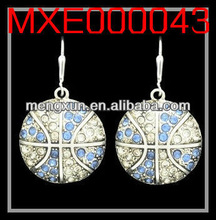 2013 yiwu fashion jewelry alloy CRYSTAL EARRINGS - BASKETBALL - LIGHT BLUE & CLEAR