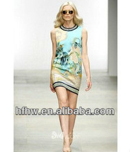 2013 Europe and the United States printed pure silk printed sleeveless dresses