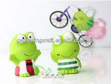 ceramic handmade lovely frog grass head doll for promotional gift