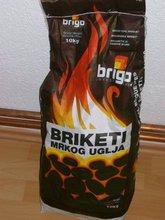 Dark coal briquettes