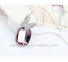 Strike Lucky Diamond Necklace White Gold Plated Crystal Necklace For Lover
