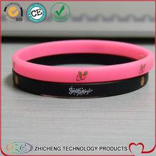 Silk print 1/4 inch thin Silicone Wristbands