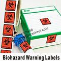 Personalizada auto-adhesivo de riesgo biológico de las etiquetas de advertencia, de color rojo o de color naranja de fondo negro con texto de riesgo biológico y el logotipo de pegatinas de impresión
