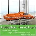 2013 moderno chaise couro laranja lounge sofá com mesa de café g-2293a