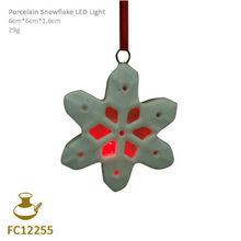 FC12255 ceramic led light christmas snowflake hanging ornament