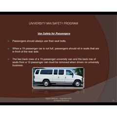 University Van Safety Program Power Point