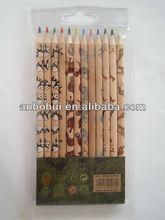 12 pcs high grade basswood print animial color pencil in pvc bag