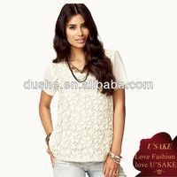 2013 Ladies Short Sleeve Elegant Crochet Top