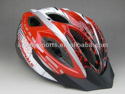 Red strong bicycle helmet, bicycle racing helmet