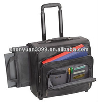 Promotional trolley business briefcases genuine leather small rolling briefcases