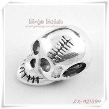 Intact Beautiful Tibetan Silver Spacer Beads Skull