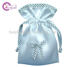 royal satin bag for packing with printed grosgrain dawstring