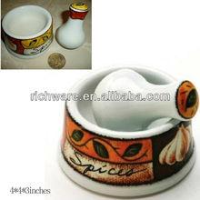 Ginger ceramic mortar&pestle