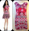 Hot sell summer floral silk dress.designer fashion dress