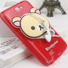 PC hard case plastic back cover cute cartoon 3D Rilakkuma earphone winder case for iphone 5