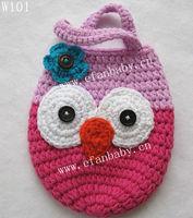 Cute 2013 new style hand made owl crochet girls hand bags