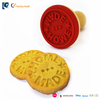 6cm dia. colorful circle custom silicone cookies stamp mold with wooden handle