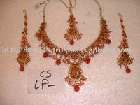 Designer Exclusive Indian Costume Fashion Imitation Jewellery ~ Artificial Gold Kundan Polki Bridal Jewelery ~Gemstones Necklace
