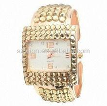 Hot selling luxury diamond gold bangle watches Ip plating watch band