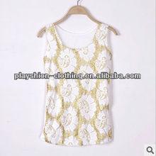 Fashion European Lace Embroidered Halter Women T-shirt
