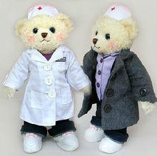 plush nursing bear toy/nurse teddy bear/stuffed doctor bear