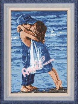 Cross Stitch Kit Boy Girl Kiss Seaside