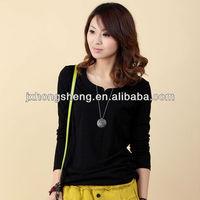 2013 ladies plain long sleeve t shirt/ ladies new design cotton long sleeve shirt